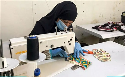 A Group of Bedouin Women from Areeej Make Protective Masks Using Traditional Embroidery Designs
